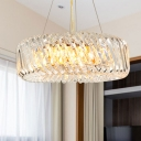 Drum Ceiling Chandelier Contemporary Clear Crystal 4/9 Lights Dining Room Hanging Pendant