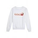 Casual White Long Sleeve Round Neck Santa Claus Reindeer Printed Loose Fit Christmas Sweatshirt for Women