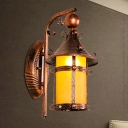 Iron House Shaped Wall Sconce Farmhouse Style 1 Head Weathered Copper Wall Lamp with Yellow Glass Shade