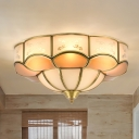 3/4/6 Lights Bedroom Ceiling Light Fixture Traditional Brass Flush Mount with Flower Curved Frosted Glass Panel Shade