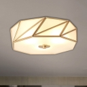 3/4/6 Lights Drum Flush Light Fixture Traditional Brass Curved Frosted Glass Flush Mount Lighting for Living Room