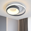 Gray Circle Ceiling Lamp Minimalist Metal LED Flush Mounted Light in Remote Control Stepless Dimming/Natural Light
