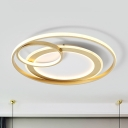 Circular Ceiling Lamp Modernism Acrylic Gold/Black LED Flush Light in Remote Control Stepless Dimming/Warm/White Light, 18