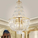 Modernism Gourd Empire Chandelier Crystal 4 Heads Pendant Light Fixture in Silver/Gold