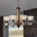 5 Heads Domed Hanging Chandelier Modernism Crystal Ceiling Pendant Light in Brass