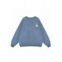 Lovely Cartoon Letter LEON INNOUT Print Long Sleeve Oversized Pullover Sweatshirt