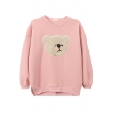 Cute Kwaii Girls Long Sleeve Crew Neck Bear Printed Fluff Liner Slit Side Baggy Pullover Sweatshirt