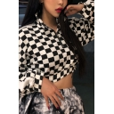 Classic Black and White Checkerboard Print Long Sleeve Half Zip Cropped Sweatshirt