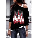 Cool Women Long Sleeve Drop Shoulder Santa Claus Snowflake Pattern Baggy Sweatshirt in Navy