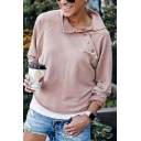 Stylish Street Women Long Sleeve Mock Neck Button Detail Asymmetric Loose Fit Pullover Sweatshirt in Pink