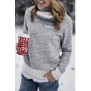 Thickened Plain Long Sleeve Asymmetric Mock Neck Zipper Decoration Patched Sherpa Liner Baggy Pullover Sweatshirt for Ladies