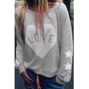 Trendy Casual Long Sleeve Round Neck Letter LOVE Heart Pentagram Print Boxy Pullover Sweatshirt for Girls