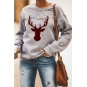 Plain Casual Street Long Sleeve Crew Neck Letter BE MERRY Deer Pattern Relaxed Pullover Sweatshirt for Women