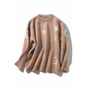 Cute Casual Long Sleeve Crew Neck Star Moon Pattern Purl Knit Baggy Pullover Sweater Top for Girls
