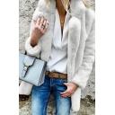 Women's Stylish Plain Long Sleeve Notch Lapel Collar Fuzzy Boxy Open Front Coat