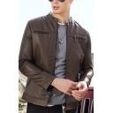 Plain Leisure Snap Collar Long Sleeve Zipper Decoration Slim Fit Fashion PU Jacket