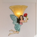 Blue/Gold Angel Wall Light Sconce Country Style Resin 1 Light Living Room Wall Lamp with Yellow Glass Bowl Shade
