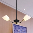 Opal Glass Beveled Chandelier Lamp Modern 3/6/8 Heads Black Hanging Light with Starburst Design
