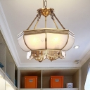 Scalloped Living Room Pendant Chandelier Colonial Opal Blown Glass 4 Heads Brass Hanging Ceiling Light
