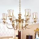 Colonialist Wide Flare Hanging Chandelier 6 Bulbs White Frosted Glass Ceiling Pendant Light for Living Room