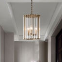 3 Lights Chandelier Pendant Light Colonial Cylindrical Clear Glass Suspension Lamp for Entry