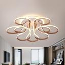 Petal Flush Mount Lamp Modern Acrylic Brown 38.5