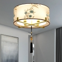 4 Bulbs Drum Ceiling Mount Traditional White Fabric Flush Light Fixture for Bedroom