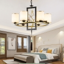 Cylinder Living Room Pendant Chandelier Traditional Opal Blown Glass 6/8/10 Heads Black and Gold Hanging Ceiling Light