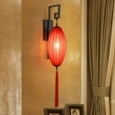 Traditionalism Oval Wall Mount Lamp 1 Head Metal Surface Wall Sconce in Red for Living Room