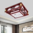 Dark Red LED Flush Mount Fixture Traditional Wooden Square/Rectangle Ceiling Mounted Light for Living Room, 21.5