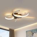 Acrylic Geometric Flush Light Fixture Simple 3/4 Lights Black/White Ceiling Mounted Light in Warm/White Light