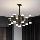 Metal Starburst Hanging Chandelier Modernism 4/8 Lights Black Pendant Light Fixture in 2 Color Light