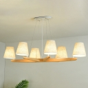 Flaxen Sputnik Chandelier Lighting Fixture Simple 6 Lights Wood Hanging Lamp with Tapered Fabric Shade
