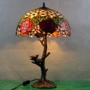 1 Head Table Lamp Tiffany Rose/Victorian/Dragonfly Handcrafted Stained Glass Reading Light in Antique Brass