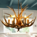 Branch Pendant Chandelier Rustic 6/8/12 Bulbs Resin Hanging Ceiling Light in Brown,16