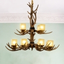 2-Tier Dining Room Ceiling Chandelier Rustic Resin 12 Heads Brown Hanging Pendant Light