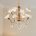 Gold Floral Chandelier Lighting Traditional LED Crystal Ceiling Pendant Light with Droplet