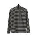Basic Women's Long Sleeve Turtleneck Stripe Patterned Slim Fit Knit T Shirt