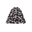 Fashion Ladies' Long Sleeve Notch Collar Button Front Floral Printed Relaxed Fit Shirt in Navy Blue