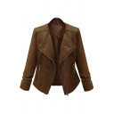 Fashion Street Ladies' Long Sleeve Peak Collar Zipper Front Slim Fit Leather Jacket
