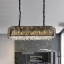 Oval Dining Room Suspension Lighting Modern Three Sided Crystal Rod 6 Heads Smoke Gray Island Light