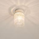Crystal Rod Petal/Cylinder Ceiling Fixture Modernism 1/3/5 Heads White Flush Mount Lamp