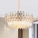 Clear Teardrop Crystal Drum Ceiling Lamp Modernism 7 Lights Living Room Chandelier Light