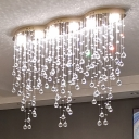 LED Dining Room Ceiling Flush Mount Gold Flush Light Fixture with Cascade Clear Crystal Ball