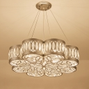 Modernism Scalloped Chandelier Light Clear Crystal 3 Bulbs Dining Room Down Lighting Pendant in Silver