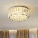 Drum Bedroom Flush Mount Light Crystal Strand 8 Lights Simple Style Ceiling Lamp in Chrome