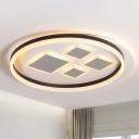Ring Flush Ceiling Light Modern Acrylic LED Coffee Flush Mount Lighting for Dining Room