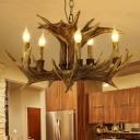 Brown 5 Heads Ceiling Chandelier Rustic Resin Faux Antler Hanging Pendant Light