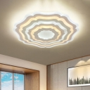 Geometric Bedroom Ceiling Light Fixture Acrylic Contemporary LED Flush Mount Lamp in White