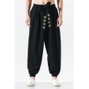 Mens Chic Chinese Letter Embroidery Belted Harem Pants Linen Baggy Trousers